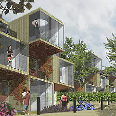 A more modern design for shipping container housing.